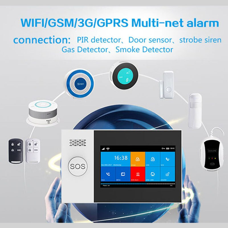 MULO Wireless WIFI GSM Home Security Alarm System For Tuya Smart Life APP with Smart Motion Detector and Door Sensor PG107 enlarge