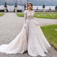 4235#Robes De Mariage Lace Long Sleeve Wedding Dresses Backless O-Neck Sukienka Na Wesele Simple Vestidos De Novia wedding