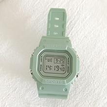 Women Green Digital Watch Girls Student Portable Wrist Watch with Soft Band PUO88