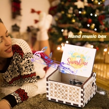 Hand Cranked Music Box Desktop Musical Boxes Retro Home Ornaments Crafts Kids Gift Wooden You Are My