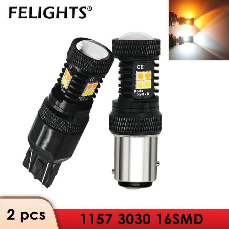 2 pces 1156 lâmpada led 1157 p21w ba15s bay15d py21w t20 t25 cor dupla branco âmbar switchback sinal luz de freio ampola led 12v drl