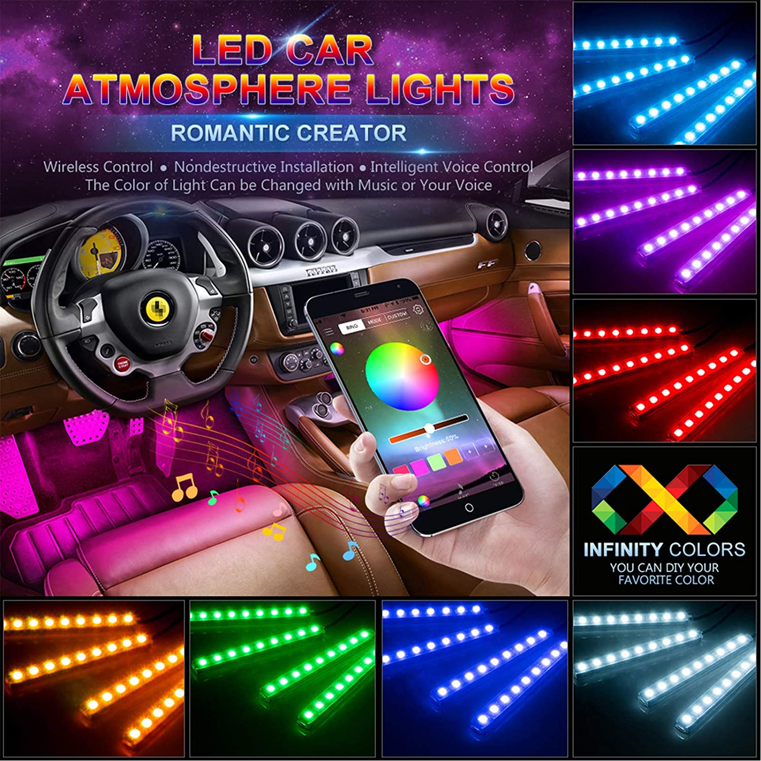 Car Decoration LED Light Foot Ambient Lights With USB Cigarette Music Control App RGB Multiple Modes