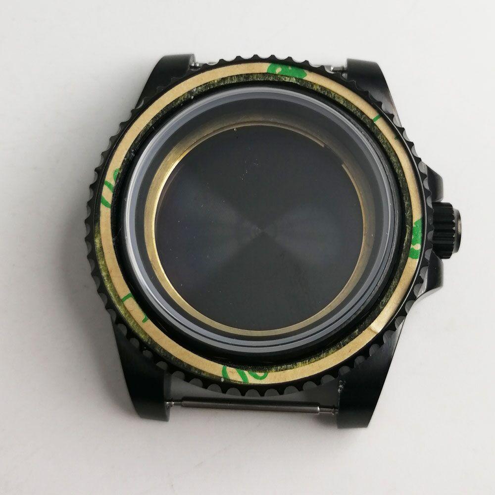40mm PVD sólido 316L Acero inoxidable funda negra cristal de zafiro mineral endurecido ajuste 2824 2836 Miyota 8215 caja de reloj de movimiento