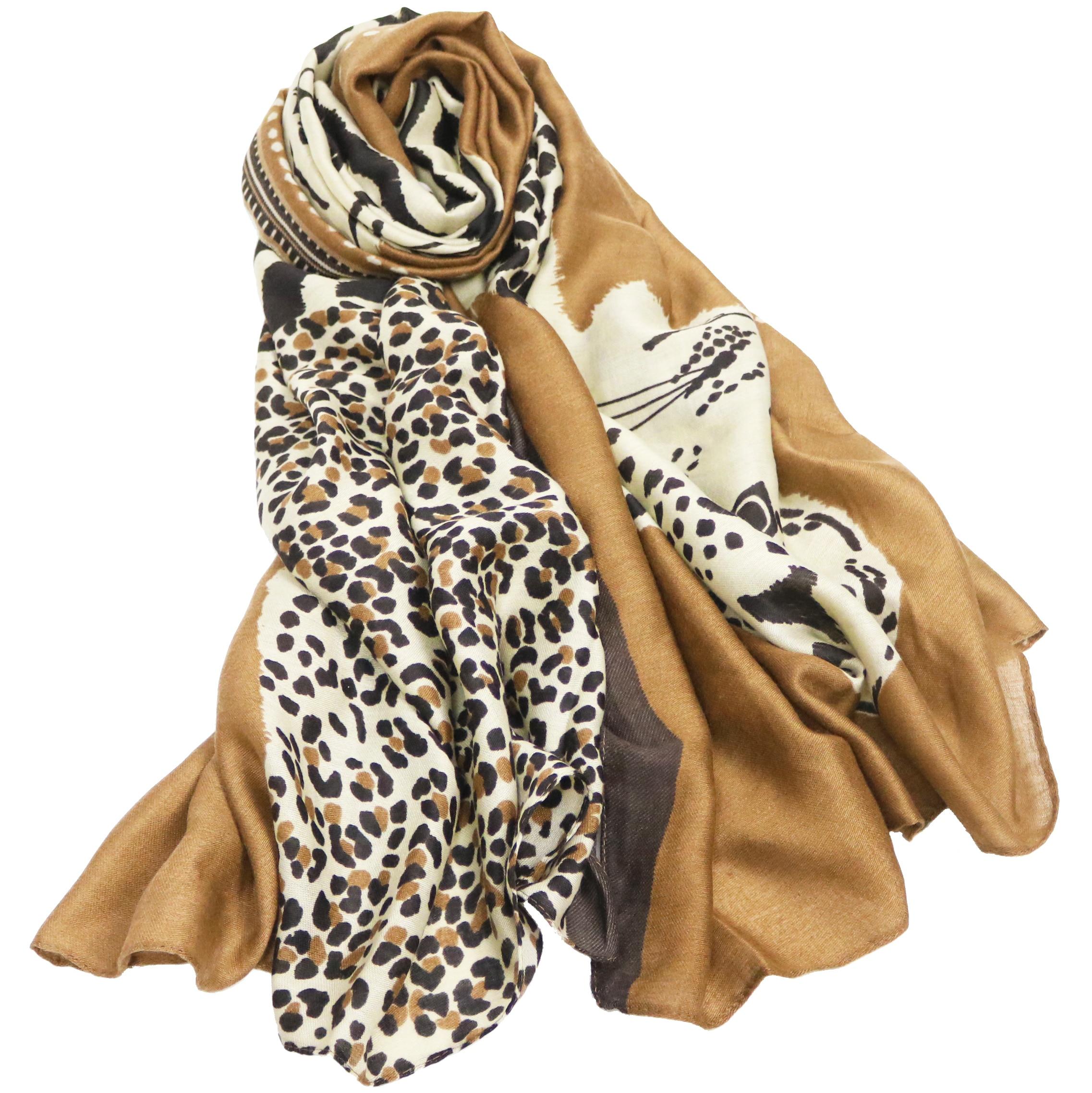 Scarf for Women Winter Leopard Tiger Pattern Long Shawl Autumn Animal Leopard Warm Pashmina Foulard Femme Echarpe Hiver Femme