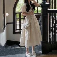 summer fairy floral dress women french vintage sweet midi kawaii dress chiffon belt designer one piece dress korean wedding 2021