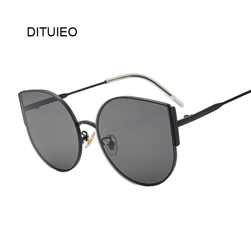 2019 Brand Vintage Big Black Cat Eye Sunglasses Women Retro Driving Round Metal Frame Sun Glasses For Female Mirror UV400
