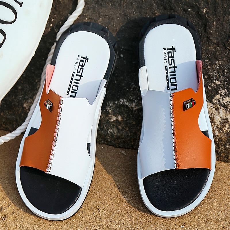 2020 Men's Summer Sandals Original Leather Comfortable Slip-on Casual Sandals Fashion Men Slippers Zapatillas Hombre Size 38-46