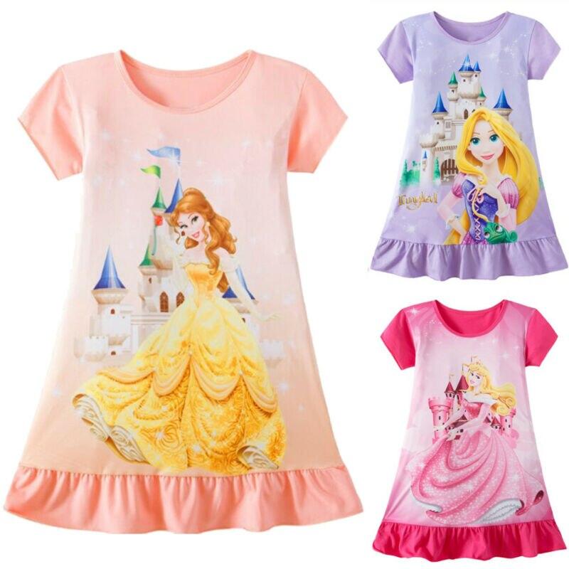 3 Styles Cute Cartoon Baby Girls Dress Rapunzel Aurora Belle Aurora Princess Printed Summer Dresses for 1-6Y