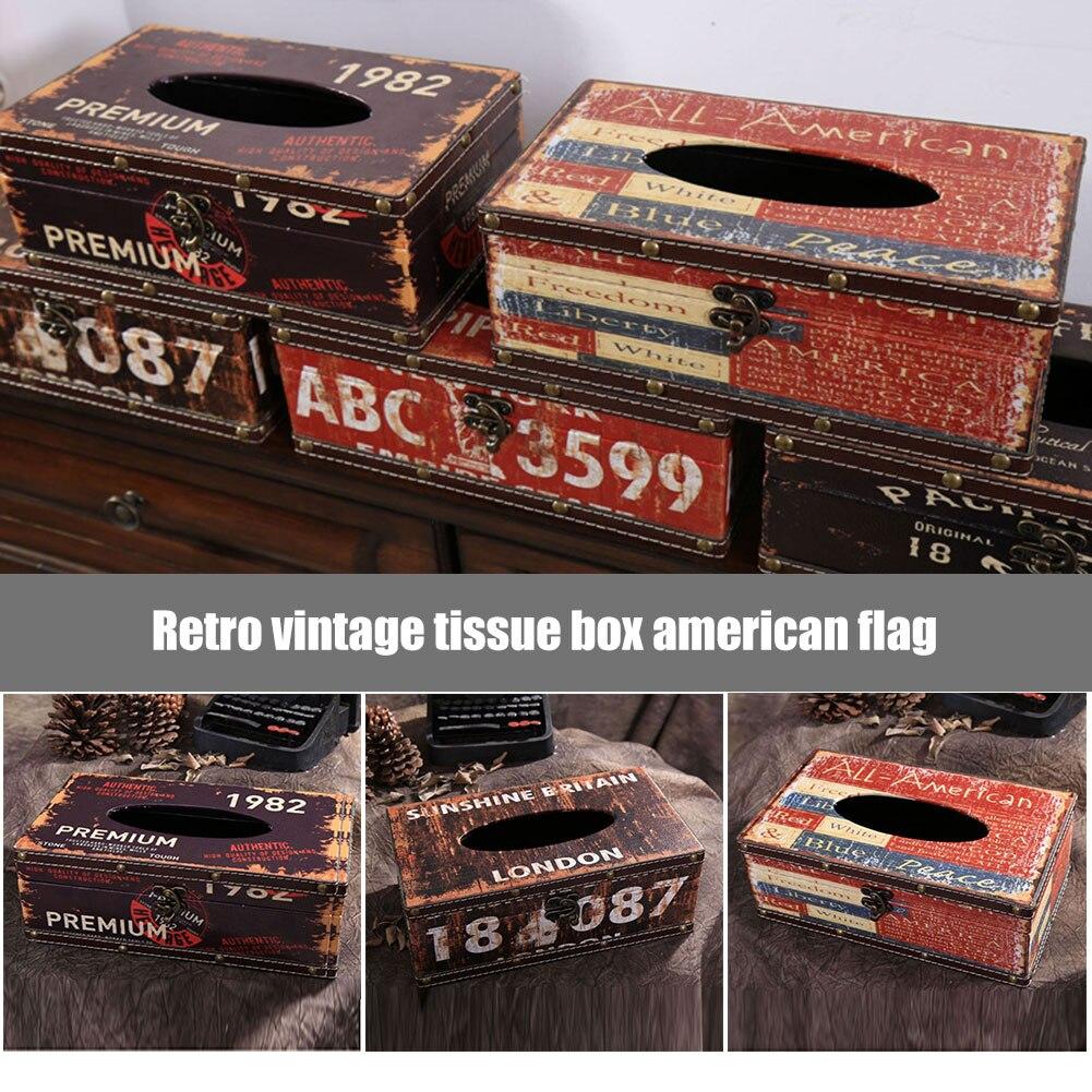 Bandera estadounidense retro patrón hogar coche caja de pañuelos de cuero PU contenedor de papel toalla de papel MYDING
