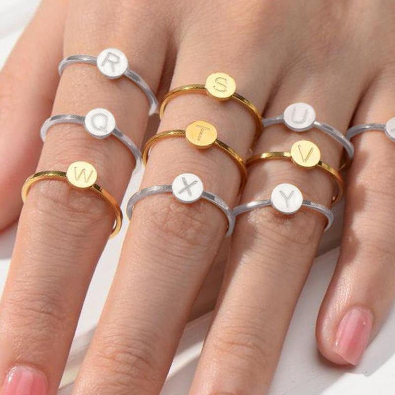 Letra anillo anillos de acero inoxidable para mujeres dedo femenino letra conjunto compromiso amor oro