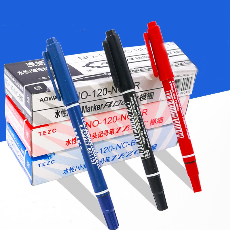 10Pcs/lot Double Head Marker pens Blue Black Red Ink 0.5mm 1mm Marker Pen Fast Dry Permanent Markers Writing Student Stationery