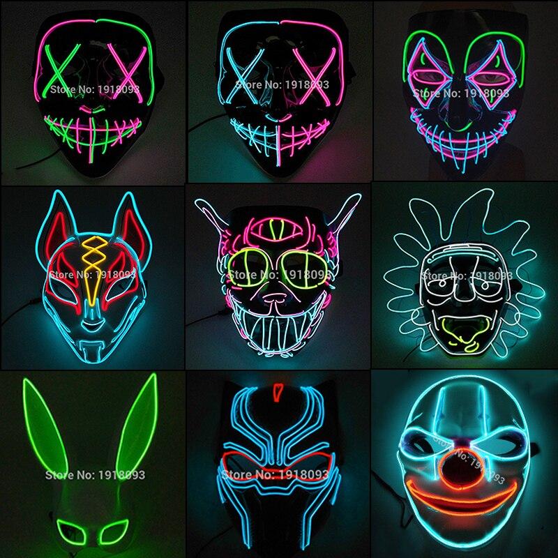 Gran oferta de máscara LED para Halloween, máscara para fiesta de máscaras, máscaras de Horror, máscara de neón, máscara de luz LED, suministros para fiesta de Halloween