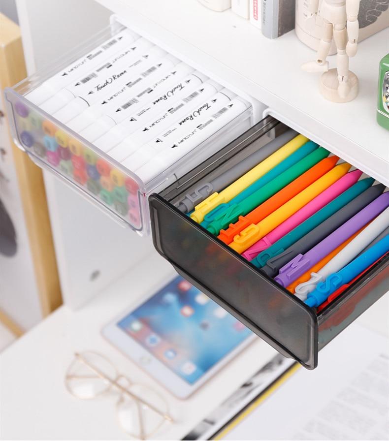 Under Desk Drawer Adhesive Storage Box Pen Holder Hidden Sorting Organizer Kitchen Knife Fork Storage Tray Office Stationery