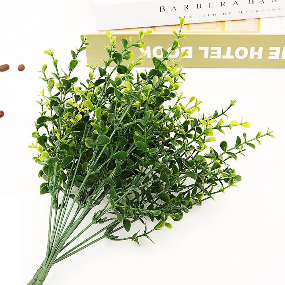 Plantas falsas, césped de helecho, decoración de pared exterior para boda, flores artificiales de hoja verde, planta de plástico para decoración de jardín y hogar