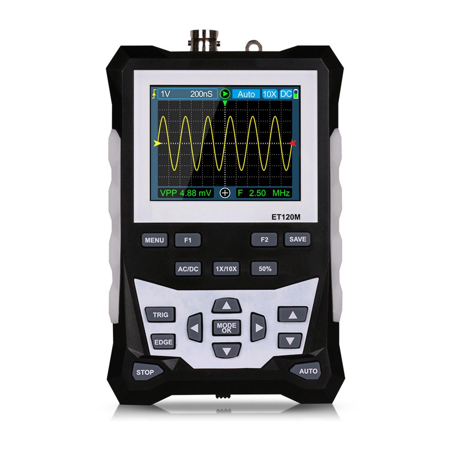 DS0120M ملتقط الذبذبات الرقمي 320x240 2.4 بوصة TFT شاشة راسم الذبذبات 120MHz عرض النطاق الترددي 500MSa/s معدل أخذ العينات الخلفية أداة
