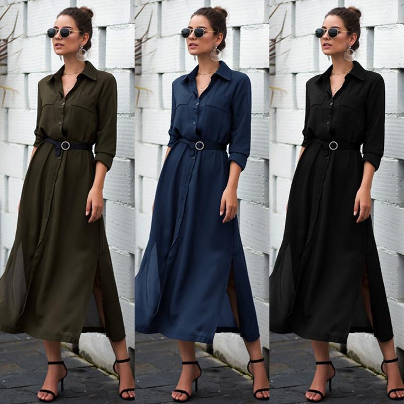 2019 vestido elegante para mujer moda Color sólido cuello vuelto botón bolsillo vestido Oficina señora siete mangas vestido nuevo otoño mucho