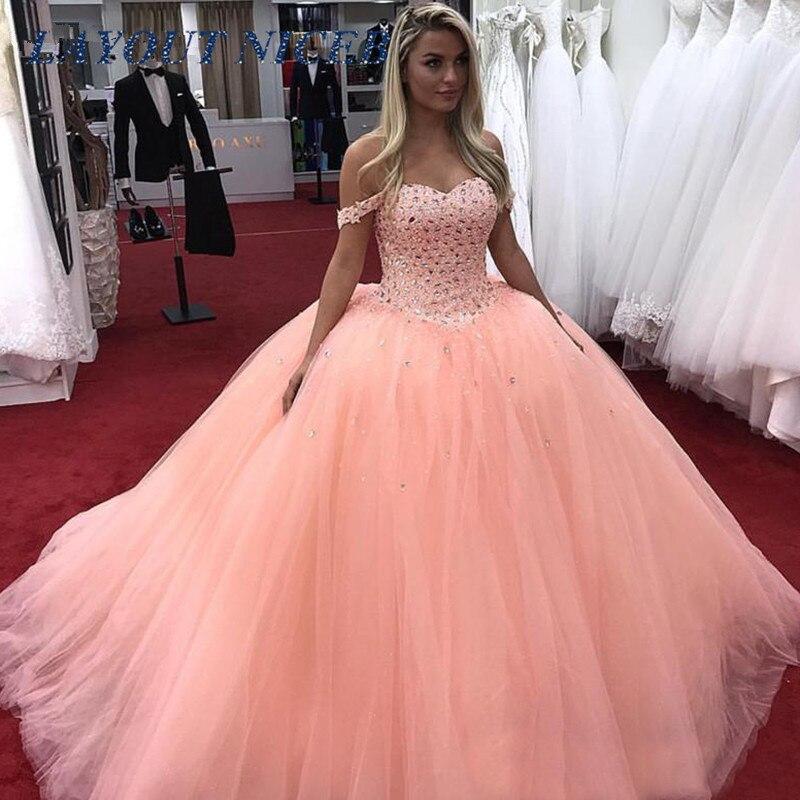 Luxe Crystal Prom Jurken Baljurk Off Shoulder Tulle Zestien 15 Sweet 16 Jurk Vestidos De 15 Anos