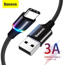 Baseus USB Type C Cable For Samsung S20 S10 Plus Xiaomi Fast Charging Wire Cord USB-C Charger Mobile