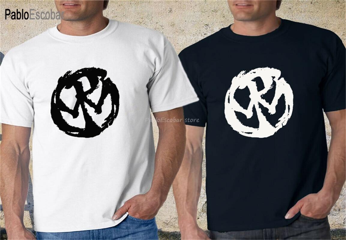 Летние футболки, новая мужская черно-белая футболка в стиле панк-рок с логотипом, модная футболка в классическом стиле