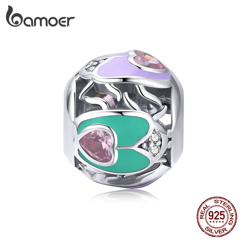 Bamoer calado ronda de esmalte de Plata de Ley 925 abalorio de plata para mujer joyería de forma de corazón cuentas para pulsera de encanto BSC205