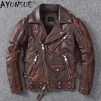 2021 genuine leather jacket men vintage shor motorcycle mens coat cowhide coats and jackets chaqueta spring cuero hombre wpy3734