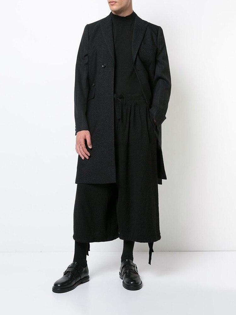 سروايل رجالية غير رسمية سروال فضفاض مظلم بنطال ذو قصة أرجل واسعة خريف وشتاء شبابي موضة حضري أسود