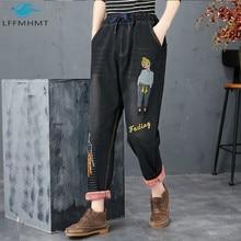 Winter Autumn Fashion Cartoon Embroidery Vintage Black Elastic Waist Thick Warm Fleece Jeans Office
