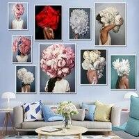 Nordique moderne fleur plume femme abstrait mode Style toile peinture Art imprimer affiche photo mur salon decor a la maison