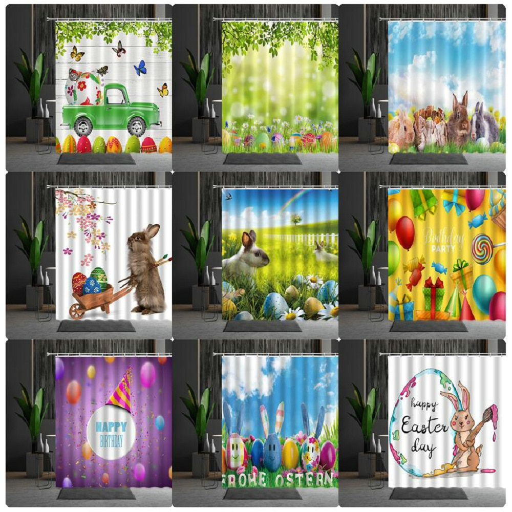 Shower Curtains Easter Cartoons Cute Rabbit Easter Eggs Flower Butterfly Grassland Bathtub Decoratio