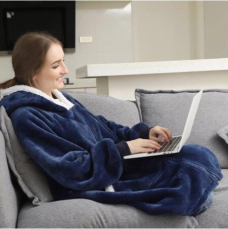 Свободная толстовка с капюшоном для женщин зимние толстовки с капюшоном флис гигантский TV одеяло с рукавами пуловер Женские кофты с капюшо...