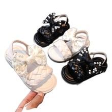 Kids Pearl Bow Princess Sandals Summer Children Brand Shoes Baby Girls Beach Sandals Rhinestone Dres