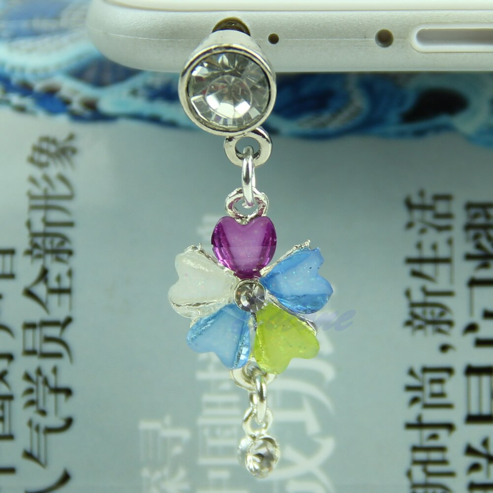 3.5 milímetros Flor de Cristal Earphone Anti Poeira Plug Cap Stopper Para iPhone HTC Samsung