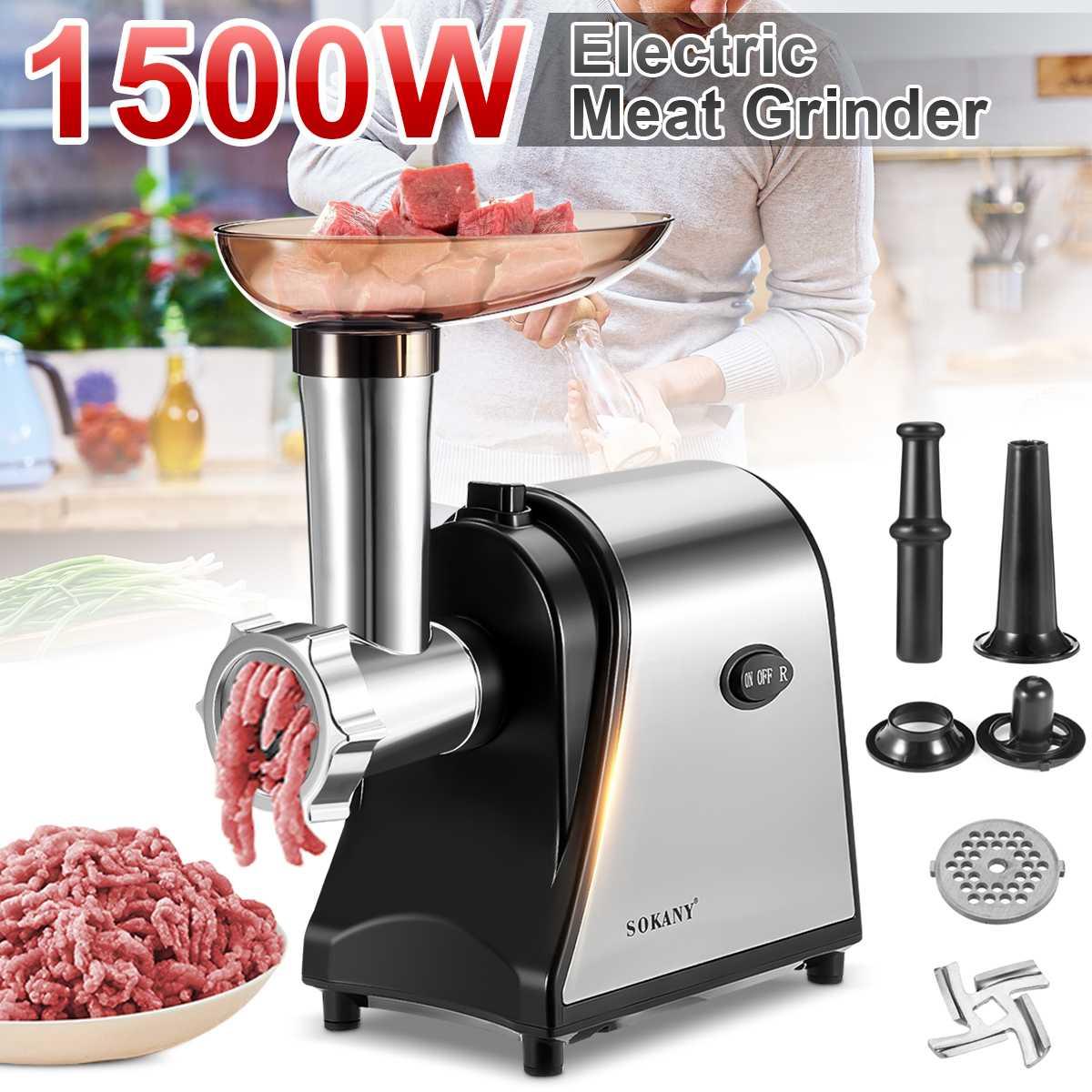 1500 واط الكهربائية مفرمة اللحم خلاط المفرمة خلاط الفولاذ المقاوم للصدأ قوية المطبخ أداة تقطيع الطعام سجق المطاحن المعالج
