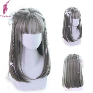 Yiyaobess Long Straight Wig With Bangs Synthetic Hair Dark Brown Linen Grey Wigs For Women Pelucas De Mujer High Temperature