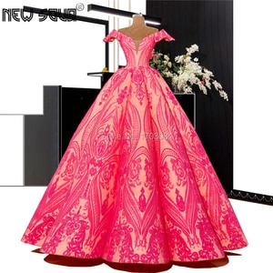 Long Pink Lace Muslim Evening Dresses Robe De Soiree 2019 Formal Party Gowns Off the Shoulder Prom Dress For kaftan Arabic Aibye