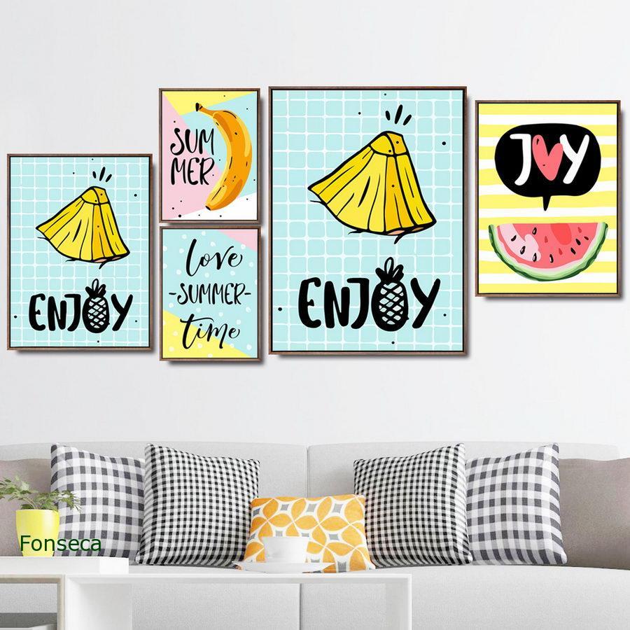 Dibujos Animados frutas piña y plátano impresión y cartel dibujos sin marco lienzo pintura arte de pared imagen de moda decoración del hogar