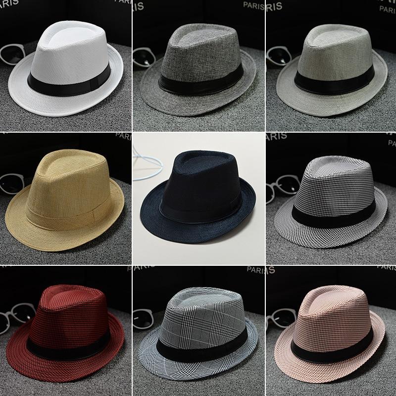 New Fashion Retro Men Fedoras Top Jazz Felt Wide Brim Hat Vintage Couple Cap Winter Chapeau Summer B