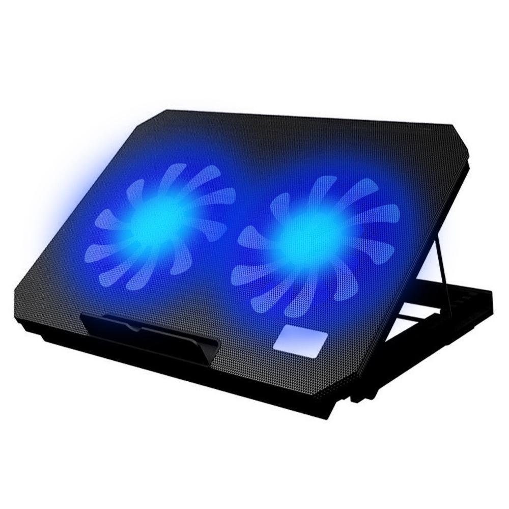 LED الإضاءة قابل للتعديل زاوية USB مبرد كمبيوتر محمول مروحة حامل تبريد قاعدة قوس 2 مروحة التبريد قاعدة تبريد كمبيوتر محمول حامل دفاتر الملاحظات
