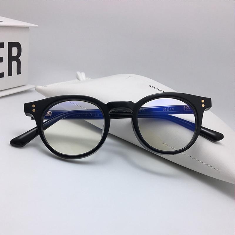 Korean brand designer round Vintage Quality Acetate eyeglass frame Milan long temple women men for prescription lens