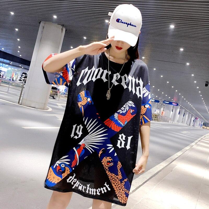 Large size fashion high-end brand loose print Harajuku short-sleeved T-shirt 2021 mid-length graffiti ladies top trendy brand