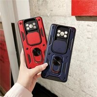 slide camera lens protection magnetic metal ring stand shockproof case for poco x3 nfc x3 pro xiaomi redmi note 8 9 pro 9t 9a 9c