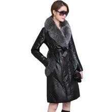 Inverno jaqueta de couro feminino casaco quente feminino ganso branco para baixo jaquetas de pele de raposa falso gola casacos parkas mujer wxf246