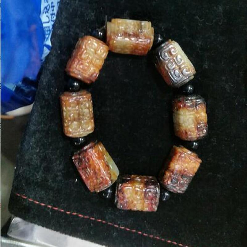 Natural Hetian Jade Antique Beads Jade Bracelet Jewelry Lucky Exorcise evil spirits Auspicious Amulet Fine Jewelry Jade Bracelet
