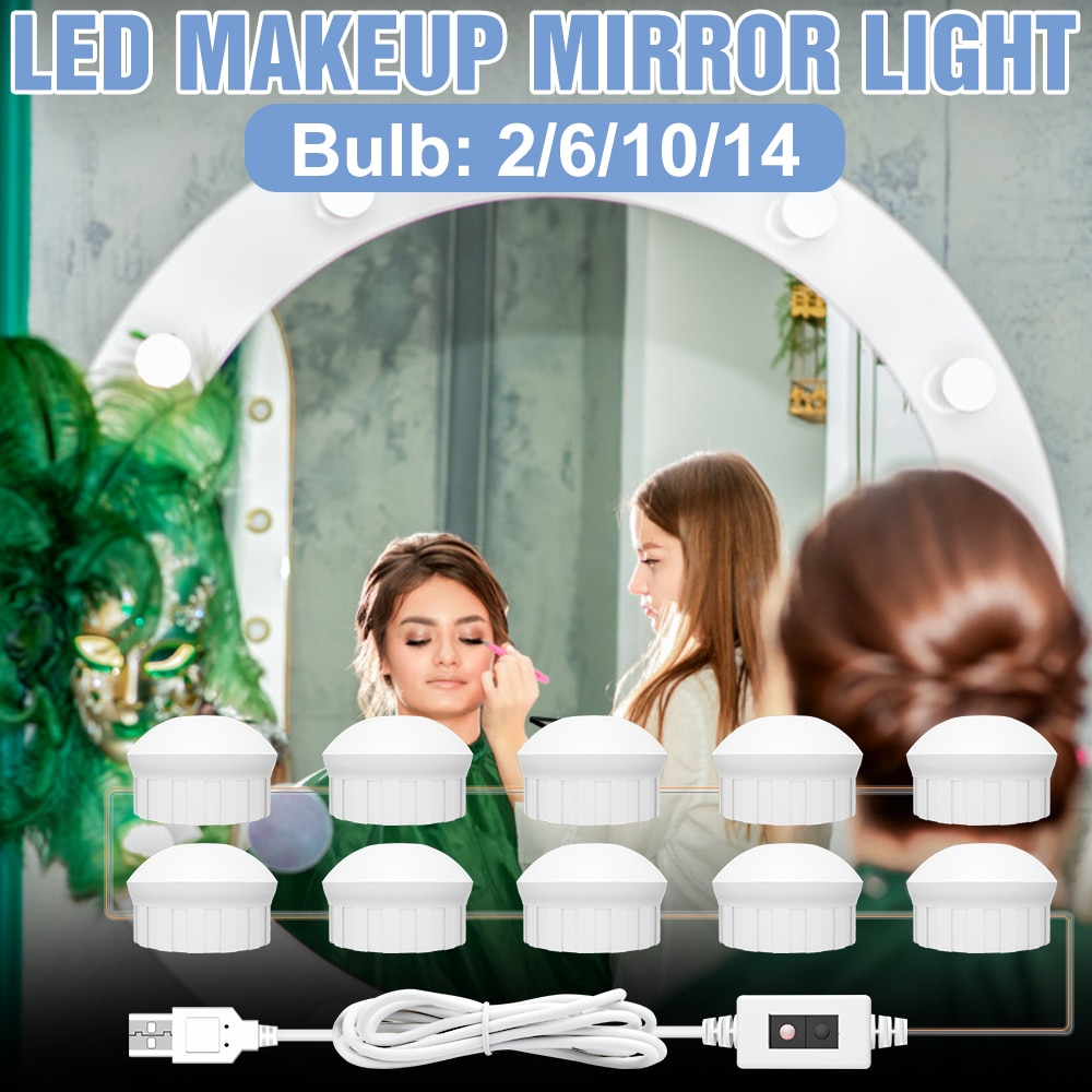 DC 12V Dressing Table Makeup Light Bulb LED Mirror Lamp Bedroom Hand Sweep LED Cosmetic Lights 2 6 10 14 Bulbs USB Bedside Lamp