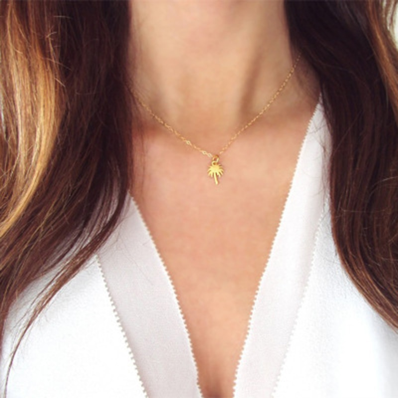Модное маленькое ожерелье-чокер с пальмой для женщин Collier Femme XL1033