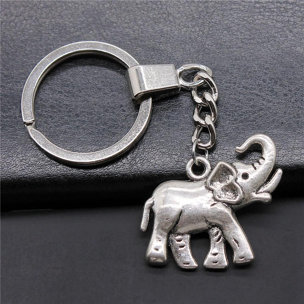 Fashion 33x30mm Elephant Charms Key Chain DIY Women & Men Souvenir Gift