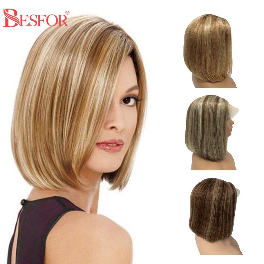 شعر مستعار بوب طبيعي ناعم مع دانتيل ، شعر قصير ، بني مظلل ، 13 × 1 ، كثافة 180% ، أشقر ، الجزء الأوسط ، للنساء