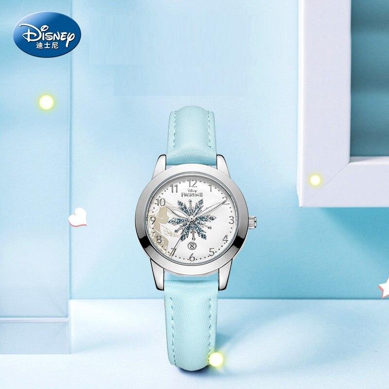 Reloj de pulsera Disney Original Frozen Elsa, Princesa, Minnie Mouse, dibujos animados, chicas, cuarzo, Bling, nieve, calendario, reloj de pulsera informal, nuevo regalo