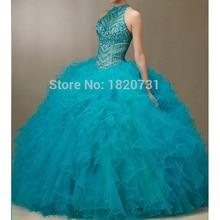 Turquoise Quinceanera robes épaules dénudées perle volants Tulle Quinceanera robes pas cher Quinceanera robes Debutante robe