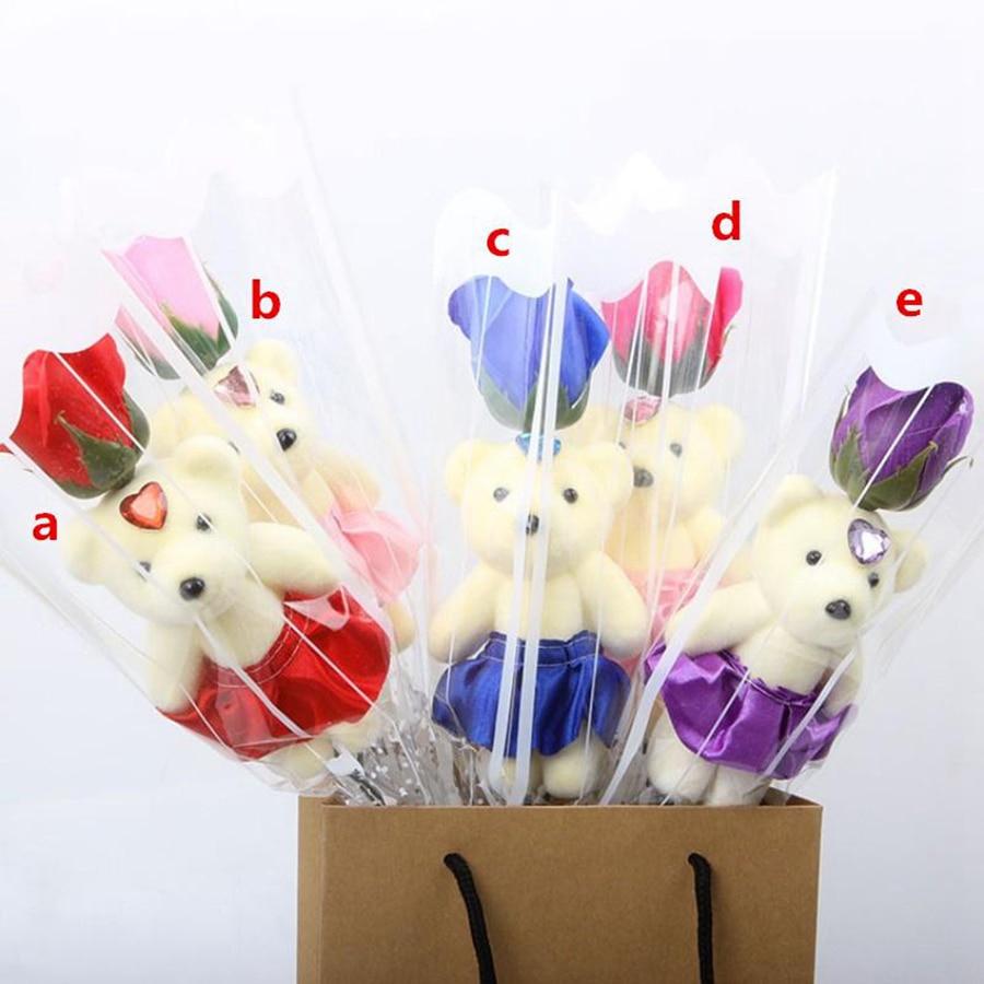 واحد الدب الصابون زهرة الدب محاكاة زهرة اصطناعية وردة الورد لحفلة عيد الحب باقة واحدة هدية